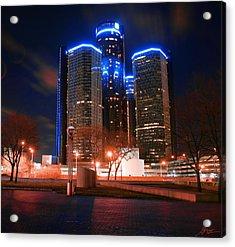 The Gm Renaissance Center At Night From Hart Plaza Detroit Michigan Acrylic Print by Gordon Dean II