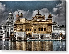 The Gold Temple Acrylic Print by Contemporary Art