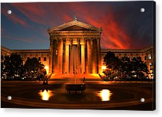 The Golden Columns - Philadelphia Museum Of Art - Sunset Acrylic Print by Lee Dos Santos