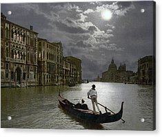 The Grand Canal Venice By Moonlight Acrylic Print by Italian School