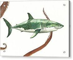 The Great White Shark And The Octopus Acrylic Print by Juan Bosco