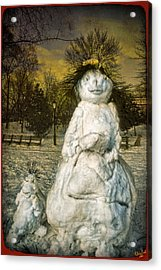 The Grunge Snowperson And Small Goth Friend Acrylic Print by Chris Lord