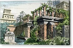 The Hanging Gardens Of Babylon Acrylic Print by Ferdinand Knab