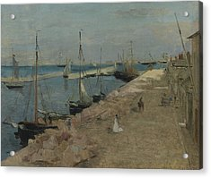 The Harbor At Cherbourg Acrylic Print by Berthe Morisot