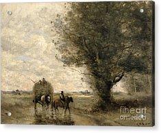 The Haycart Acrylic Print by Jean Baptiste Camille Corot