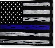 The Heroic Thin Blue Line Acrylic Print by Belinda Nagy