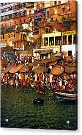 The Holy Ganges Impasto Acrylic Print by Steve Harrington