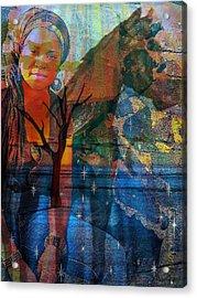 The Horse And Me Acrylic Print by Fania Simon