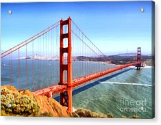 The Iconic San Francisco Golden Gate Bridge . 7d14507 Acrylic Print by Wingsdomain Art and Photography