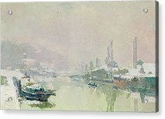 The Ile Lacroix Under Snow Acrylic Print by Albert Charles Lebourg