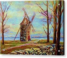 The Ile Perrot Windmill Moulin Ile Perrot Quebec Acrylic Print by Carole Spandau
