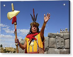 The Inca At Sacsayhuaman Acrylic Print by James Brunker