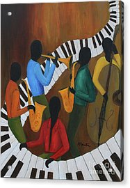 The Jazzy Five Acrylic Print by Larry Martin