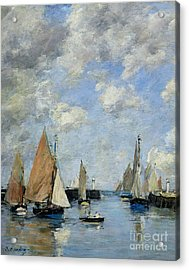 The Jetty At High Tide Acrylic Print by Eugene Louis Boudin