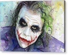 The Joker Watercolor Acrylic Print by Olga Shvartsur