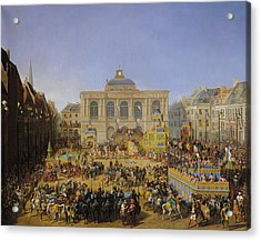 The Kermesse At Saint-omer In 1846 Acrylic Print by Auguste Jacques Regnier