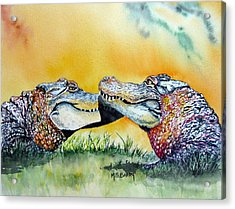 The Kiss Acrylic Print by Maria Barry