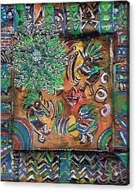 The Kokopelli Greenery Acrylic Print by Anne-Elizabeth Whiteway