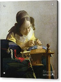 The Lacemaker Acrylic Print by Jan Vermeer