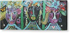 The Ladies From Cowville Acrylic Print by Anne-Elizabeth Whiteway