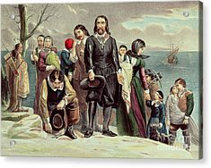 The Landing Of The Pilgrims At Plymouth Acrylic Print by Currier and Ives