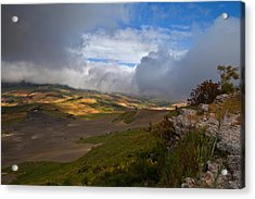The Landscape Near The Roman Ruins Acrylic Print by Panoramic Images