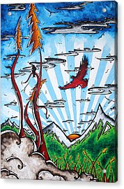 The Last Frontier Original Madart Painting Acrylic Print by Megan Duncanson