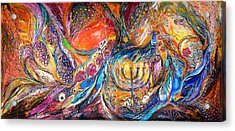 The Light Of Menorah Acrylic Print by Elena Kotliarker