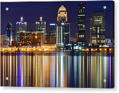 The Lights Of A Louisville Night Acrylic Print by Frozen in Time Fine Art Photography