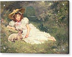 The Little Shepherdess Acrylic Print by Arthur Dampier May