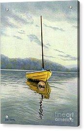 The Yellow Sailboat Acrylic Print by Sarah Batalka