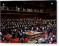 The Lord Chancellor About To Put The Question In The Debate About Home Rule In The House Of Lords Acrylic Print by English School