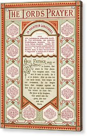 The Lord's Prayer In 14 Languages Acrylic Print by English School