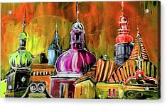 The Magical Rooftops Of Prague 01 Acrylic Print by Miki De Goodaboom