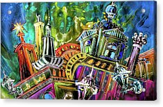 The Magical Rooftops Of Prague 02 Acrylic Print by Miki De Goodaboom