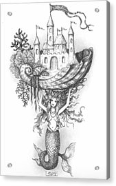 The Mermaid Fantasy Acrylic Print by Adam Zebediah Joseph