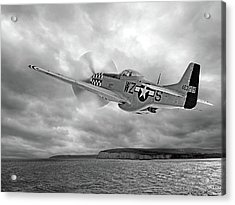 The Mission - P51 Over Dover In Black And White Acrylic Print by Gill Billington
