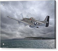 The Mission - P51 Over Dover Acrylic Print by Gill Billington