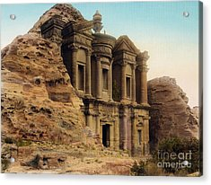 The Monastery Petra Acrylic Print by Celestial Images