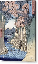 The Monkey Bridge In The Kai Province Acrylic Print by Hiroshige