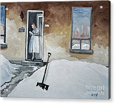 The Morning Paper Acrylic Print by Reb Frost