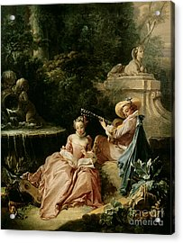 The Music Lesson Acrylic Print by Francois Boucher