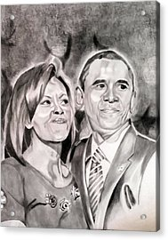 The Obamas Acrylic Print by Nina Carpenter
