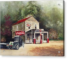 The Old Esso Station Acrylic Print by Charles Roy Smith