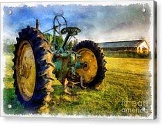 The Old John Deere Tractor Acrylic Print by Edward Fielding