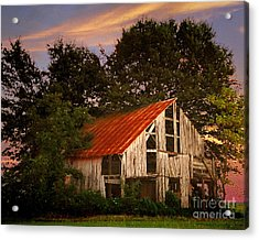 The Old Lowdermilk Barn - Red Roof Barn Rustic Country Rural Antique Acrylic Print by Jon Holiday