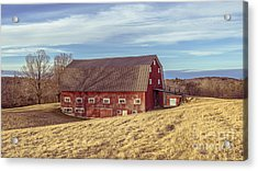 The Old Red Barn In Winter Acrylic Print by Edward Fielding