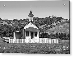 The Old San Simeon Schoolhouse With The Famous Hearst Castle Acrylic Print by Jamie Pham