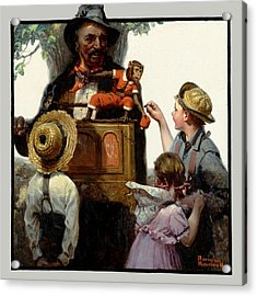 The Organ Grinder Acrylic Print by Norman Rockwell