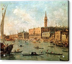 The Palace And The Molo From The Basin Of San Marco Acrylic Print by Francesco Guardi